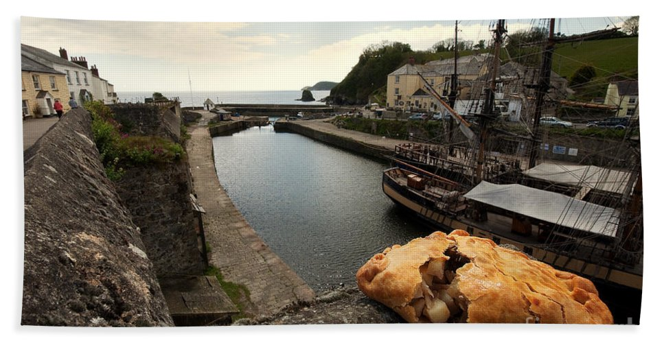 Cornish Beach Towel featuring the photograph Pasty On The Harbour by Rob Hawkins
