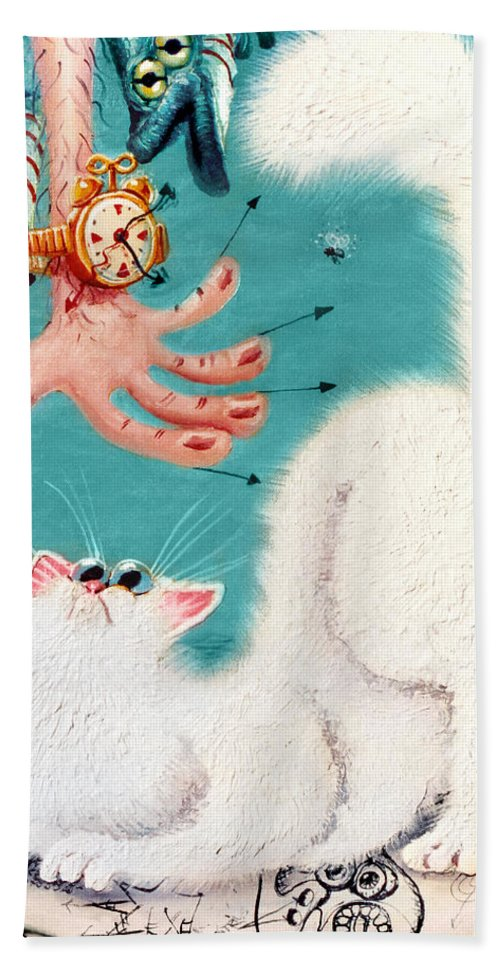Cat Beach Towel featuring the painting Pat That Cat by Baron Dixon