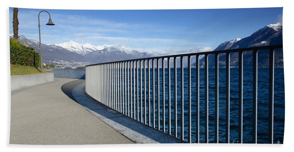 Path Beach Towel featuring the photograph Path On An Alpine Lakefront by Mats Silvan
