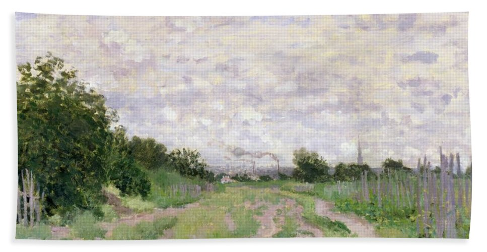 Path Beach Towel featuring the painting Path Through The Vines At Argenteuil by Claude Monet