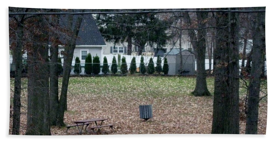 Autumn Leaves Beach Towel featuring the photograph Patio View Of An Autumn Day by Sonali Gangane
