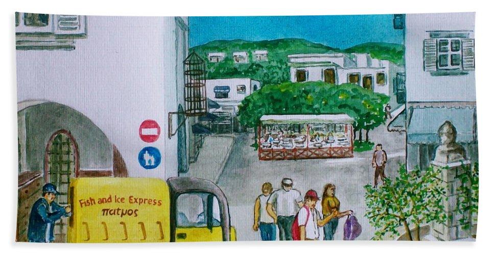 Greek Island Patmos Fish Monger Truck Yellow Tourists John Beach Sheet featuring the painting Patmos Fish Monger by Frank Hunter
