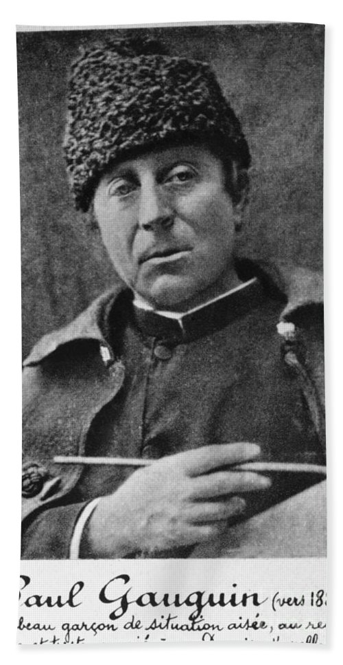 Black And White Beach Towel featuring the photograph Paul Gauguin by Photo Researchers