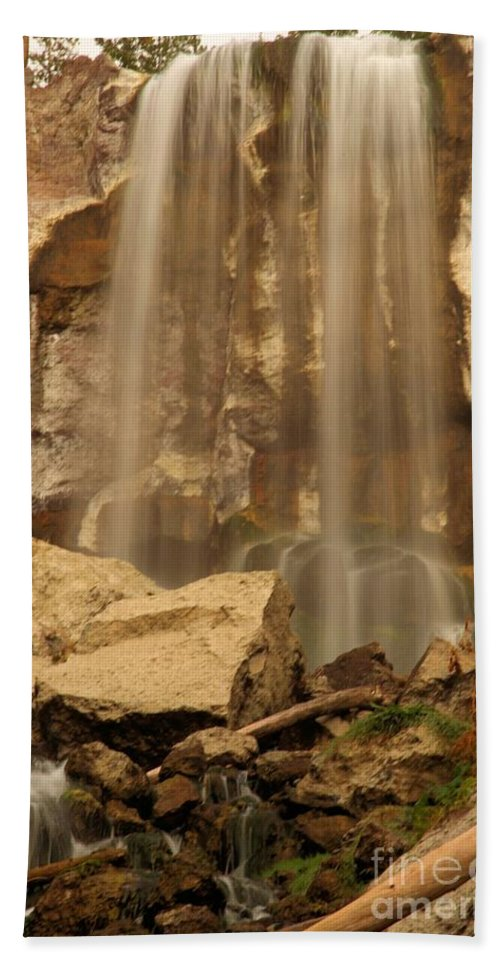 Paulina Falls Beach Towel featuring the photograph Paulina Falls Cascade by Adam Jewell
