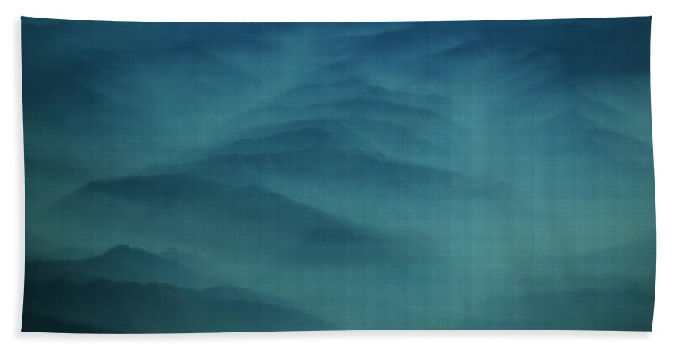 Aerial Photography Beach Towel featuring the photograph Pdx Mountain Haze by Strato ThreeSIXTYFive