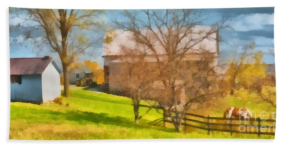 Autumn Beach Towel featuring the painting Peaceful Farm In Autumn by Anne Kitzman