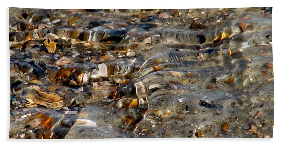 Ocean Beach Towel featuring the photograph Pebbles And Shells By The Sea Shore by Ericamaxine Price