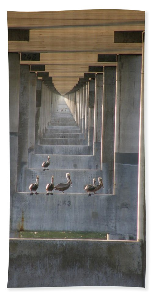 Architecture Beach Towel featuring the photograph Pelican Perch With Seven Mile Perspectives by Kimberly Mohlenhoff