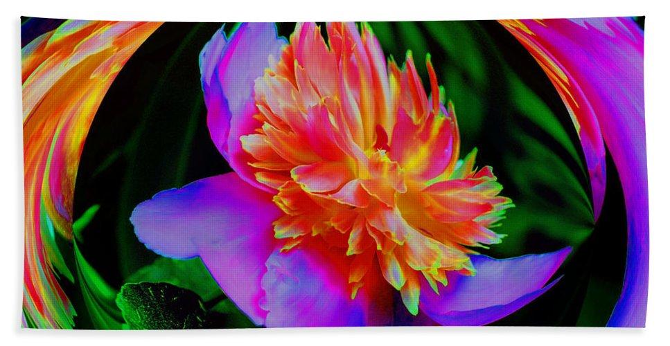 Flower Beach Towel featuring the digital art Peony Flower Energy by Smilin Eyes Treasures