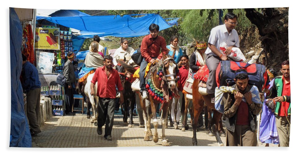 Vaishno Devi Beach Towel featuring the photograph People On Horseback And On Foot Making The Climb To The Vaishno Devi Shrine In India by Ashish Agarwal