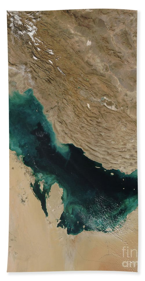 Moderate Resolution Imaging Spe Beach Towel featuring the photograph Persian Gulf Satellite Image by Nasa