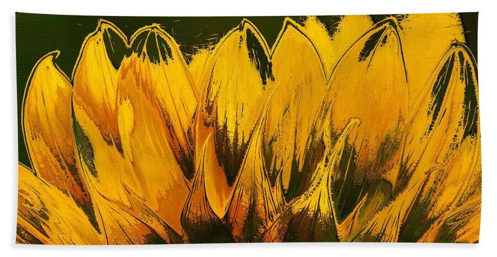 Sunflower Beach Towel featuring the digital art Petales De Soleil - A41b by Variance Collections