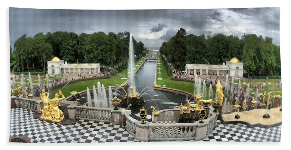 Antique Beach Towel featuring the photograph Peterhof Palace 16x9 by Michael Goyberg