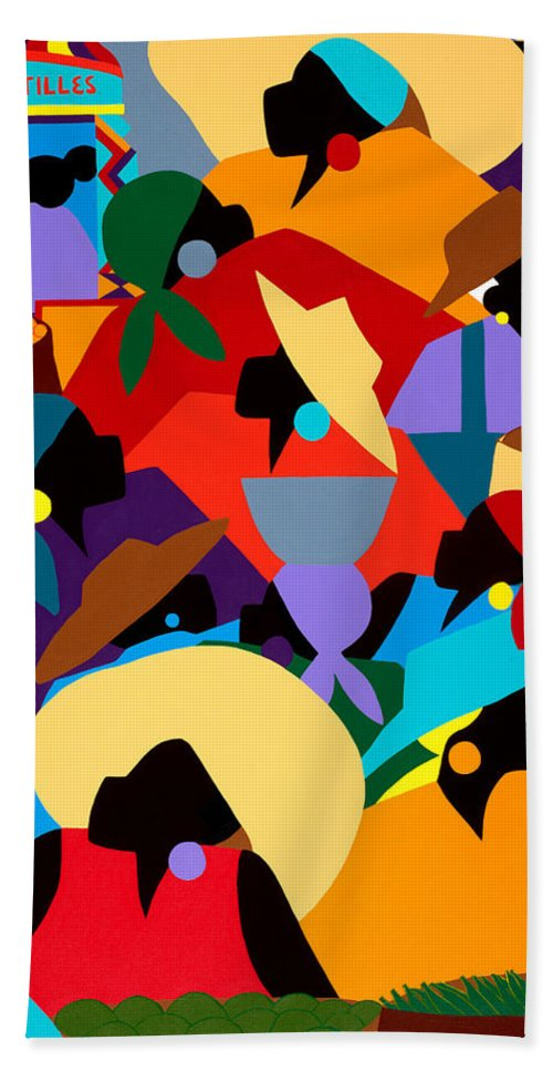 Petion Ville Beach Towel featuring the painting Petion Ville Market II by Synthia SAINT JAMES