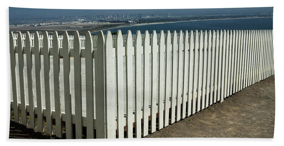 Art Beach Towel featuring the photograph Picket Fence By The Cabrillo National Monument Lighthouse In San Diego by Randall Nyhof
