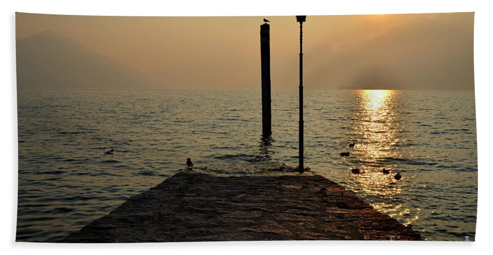 Pier Beach Towel featuring the photograph Pier And Sunset by Mats Silvan