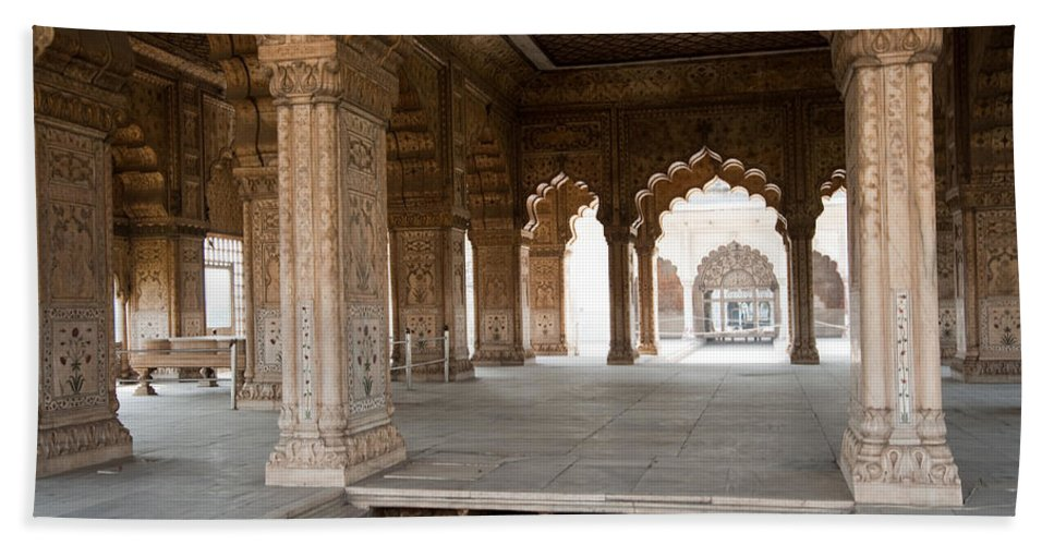 Monument Beach Towel featuring the photograph Pillars Of Building Inside Red Fort by Ashish Agarwal