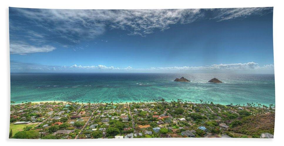Hawaii Beach Towel featuring the photograph Pillbox View Of Mokulas by Dan McManus
