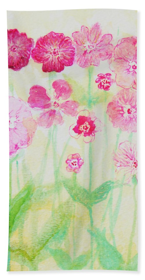 Flowers Beach Towel featuring the painting Pink Flowers by Ashleigh Dyan Bayer