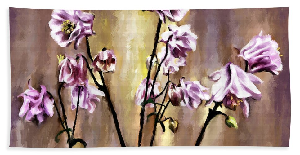 Corel Painter Beach Towel featuring the painting Pink Flowers by Susan Kinney