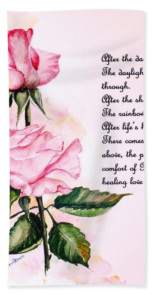 Pink Rose Poem Beach Sheet