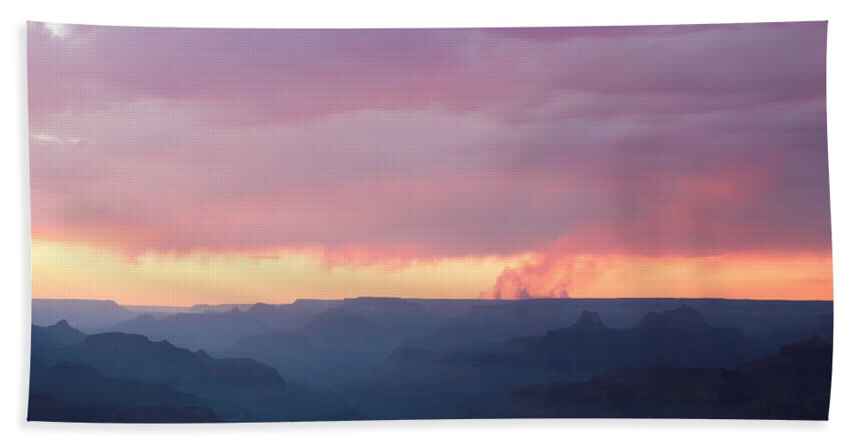 Pink Beach Towel featuring the photograph Pink Smoke Rises by Heidi Smith