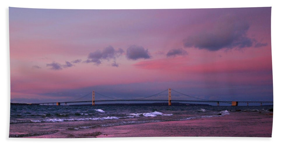 Usa Beach Towel featuring the photograph Pink Sunset Over Mackinac Michigan by LeeAnn McLaneGoetz McLaneGoetzStudioLLCcom