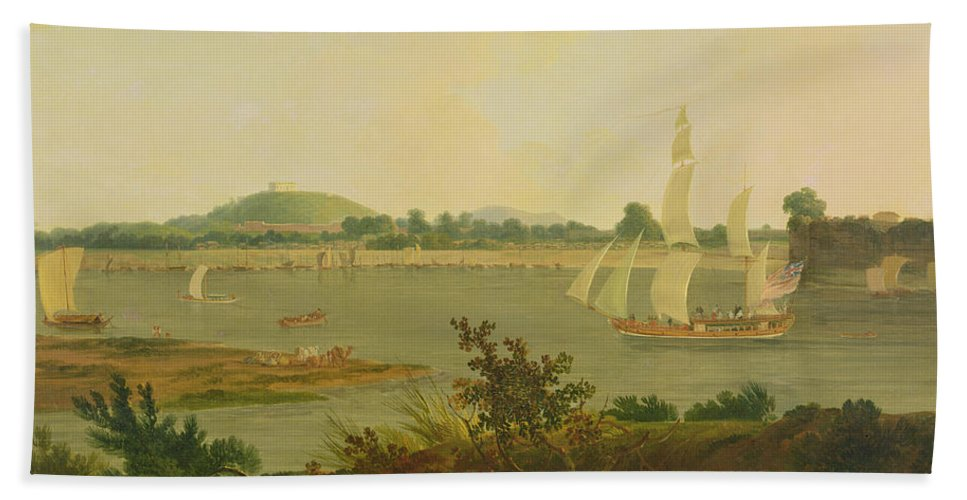 Pinnace Sailing Down The Ganges Past Monghyr Fort Beach Towel featuring the painting Pinnace Sailing Down The Ganges Past Monghyr Fort by Thomas Daniell