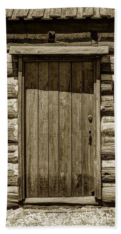 Pioneer Beach Sheet Featuring The Photograph Pioneer Log Cabin Door    Close Up By Gary