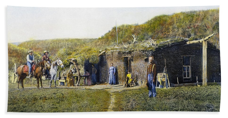1887 Beach Towel featuring the photograph Pioneers Sod House, 1887 by Granger