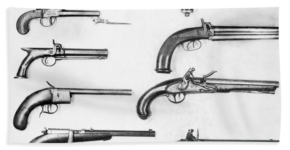 19th Century Beach Towel featuring the photograph Pistol And Revolvers by Granger