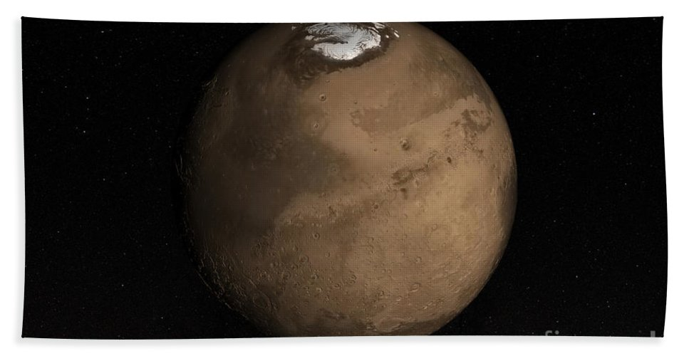 Martian Beach Towel featuring the photograph Planet Mars Slightly Tilted To Show by Stocktrek Images