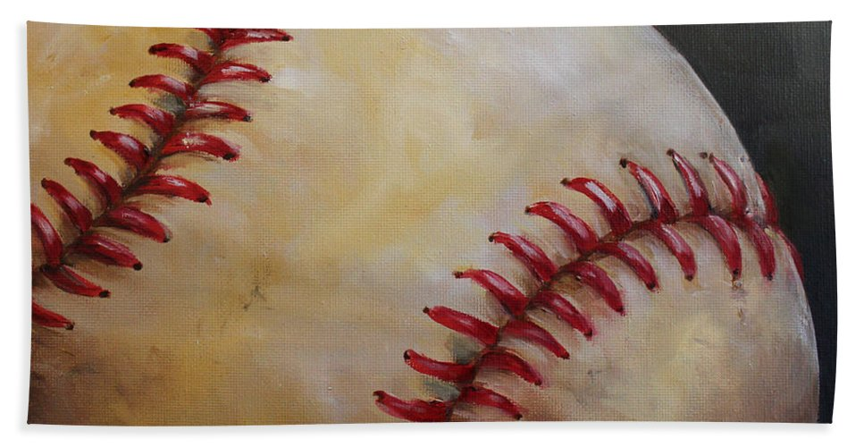 Kristine Kainer Beach Towel featuring the painting Play Ball No. 2 by Kristine Kainer