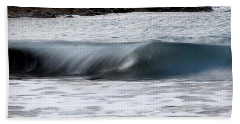 Outdoor Beach Towel featuring the photograph playing with waves 1 - A beautiful image of a wave rolling in noth coast of Menorca by Pedro Cardona Llambias