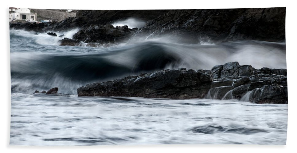 Outdoor Beach Towel featuring the photograph playing with waves 2 - A beautiful image of a wave rolling in noth coast of Menorca Cala Mesquida by Pedro Cardona Llambias