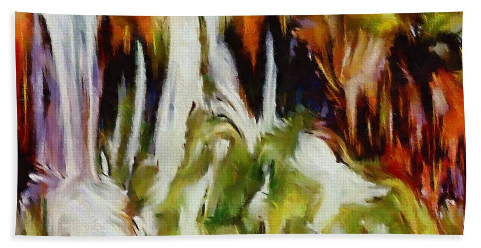 Waterfall Beach Towel featuring the painting Plitvice Falls by Dragica Micki Fortuna
