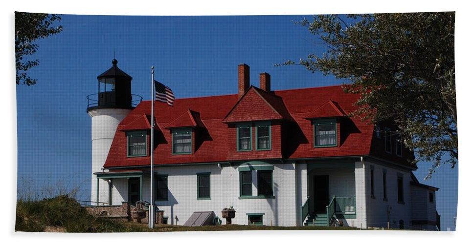 Point Betsie Light Station Beach Towel featuring the photograph Point Betsie Light Station by Grace Grogan