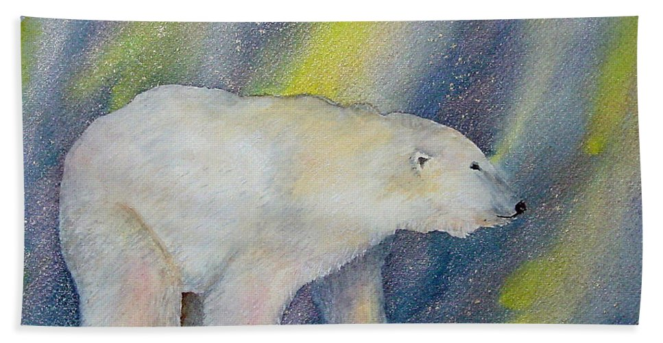Polar Bear Beach Towel featuring the painting Polar Lights by Dee Carpenter