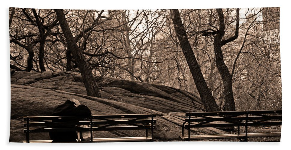 Park Beach Towel featuring the photograph Pondering In Sepia by La Dolce Vita