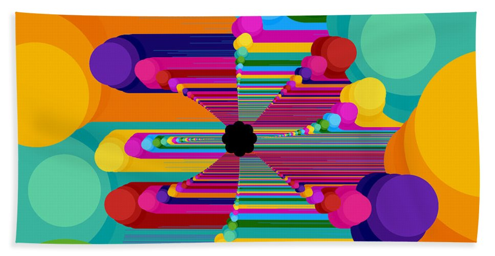 Fractal Beach Towel featuring the digital art Pop Flower by Mark Greenberg