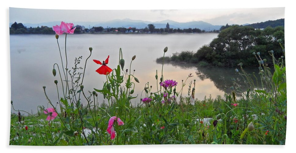 River Beach Towel featuring the photograph Poppies By The River by Kume Bryant