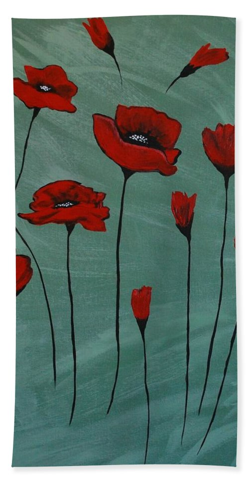 Poppy Painting Beach Towel featuring the painting Poppy Love by Leslie Allen