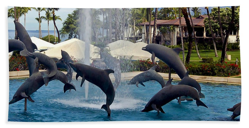 Porpoise Statues Beach Towel featuring the photograph Porpoise Statues  Maui Hawaii by Jon Berghoff