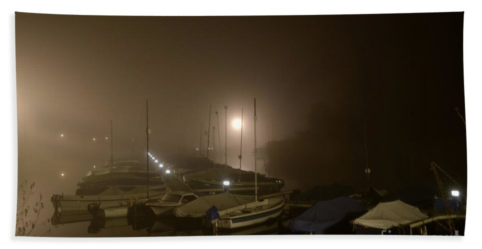 Port Beach Towel featuring the photograph Port At Night In The Fog by Mats Silvan
