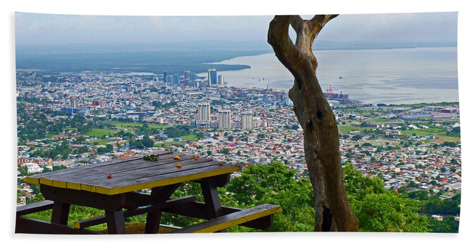 Caribbean Pictures Beach Towel featuring the photograph Port of Spain from Fort George by Karin Dawn Kelshall- Best