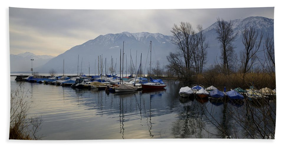 Port Beach Towel featuring the photograph Port With Snow-capped Mountain by Mats Silvan