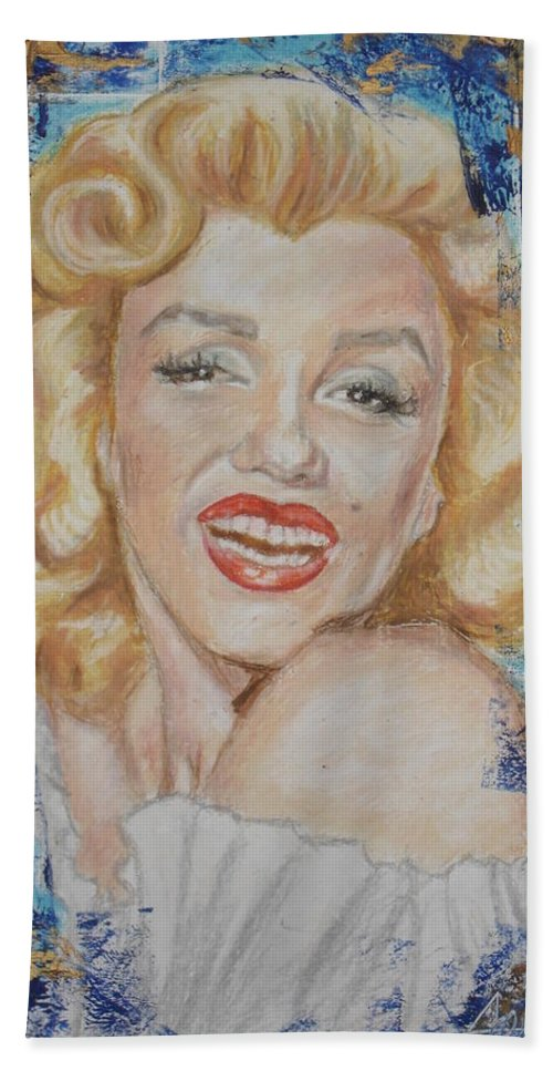 Oil Pastel Celebrity Portrait Woman Beauty Marilyn Monroe Beach Towel featuring the painting Portrait Of Marilyn Monroe by Agnes V