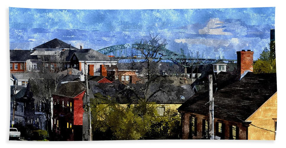 Portsmouth Beach Towel featuring the digital art Portsmouth Nh North End Pnewc by Jim Brage