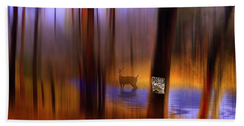 Autumn Beach Towel featuring the digital art Posted by Ron Jones