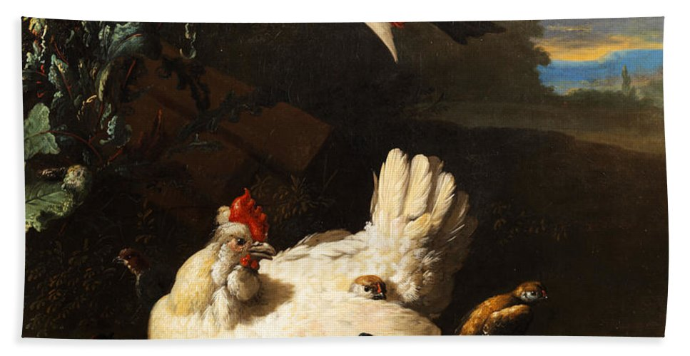 Birds Beach Towel featuring the painting Poultry by Melchior de Hondecoeter